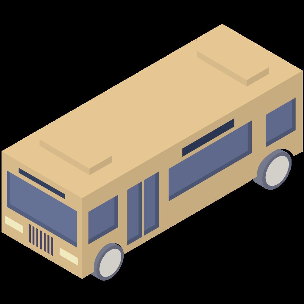 シンプルでかわいいアイソメトリックの黄色いバスの素材