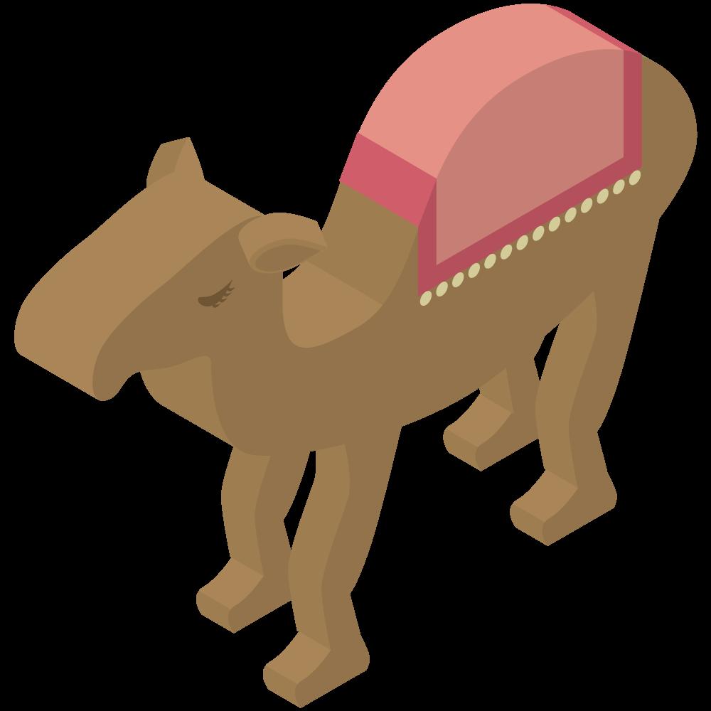 シンプルでかわいいアイソメトリックのエジプトのヒトコブラクダのイラスト素材