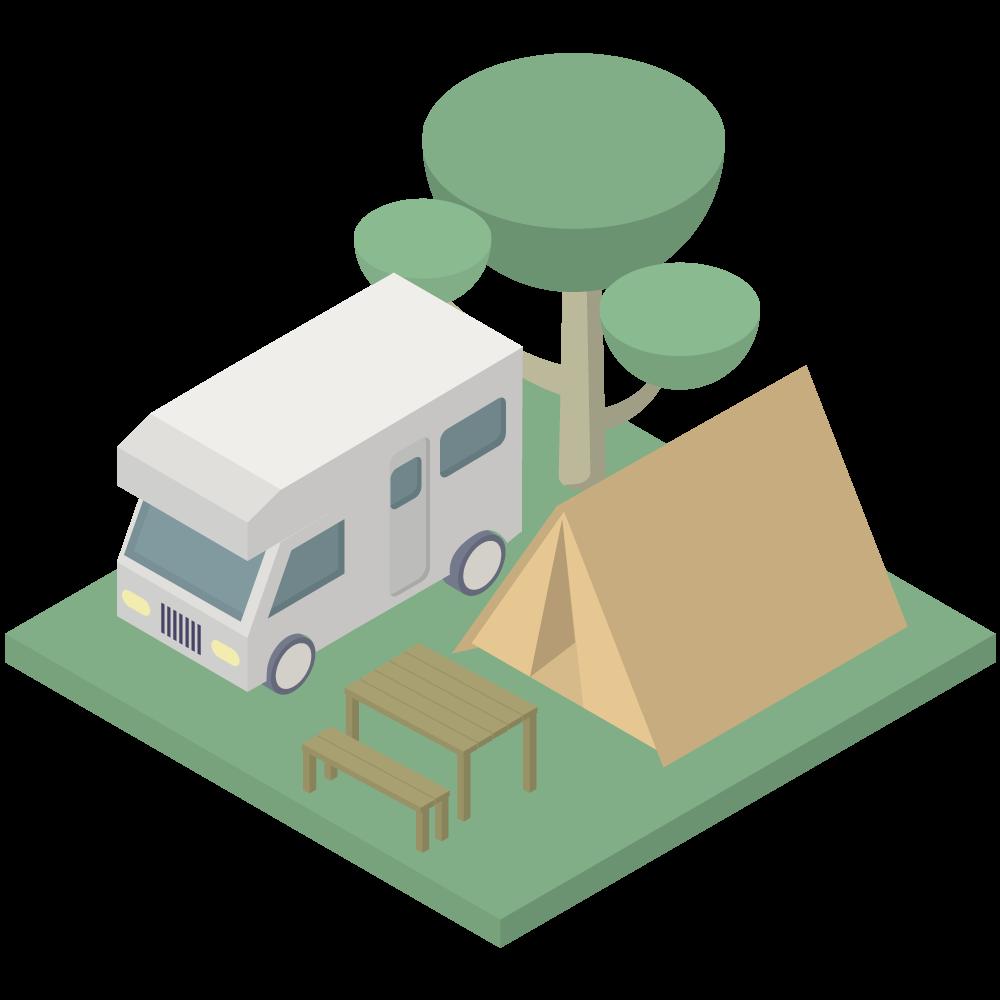 シンプルでかわいいアイソメトリックのキャンピンクカーとテントのあるキャンプ場の素材