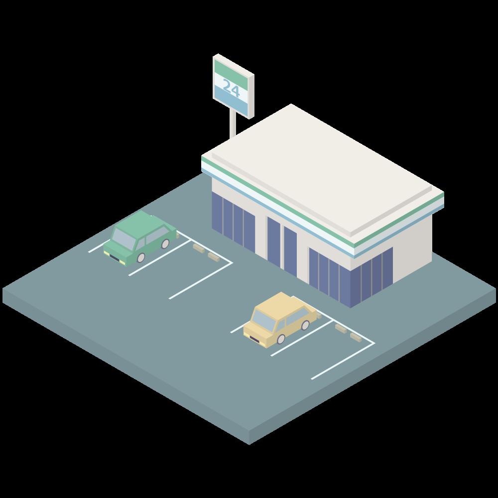 シンプルでかわいいアイソメトリックの駐車場のあるファミリーマートの素材