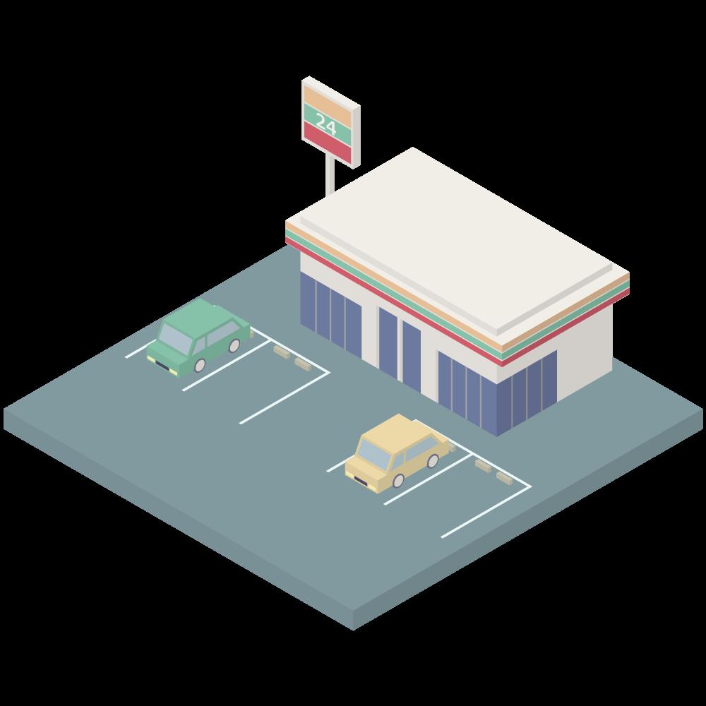 シンプルでかわいいアイソメトリックの駐車場のあるセブンイレブンの素材