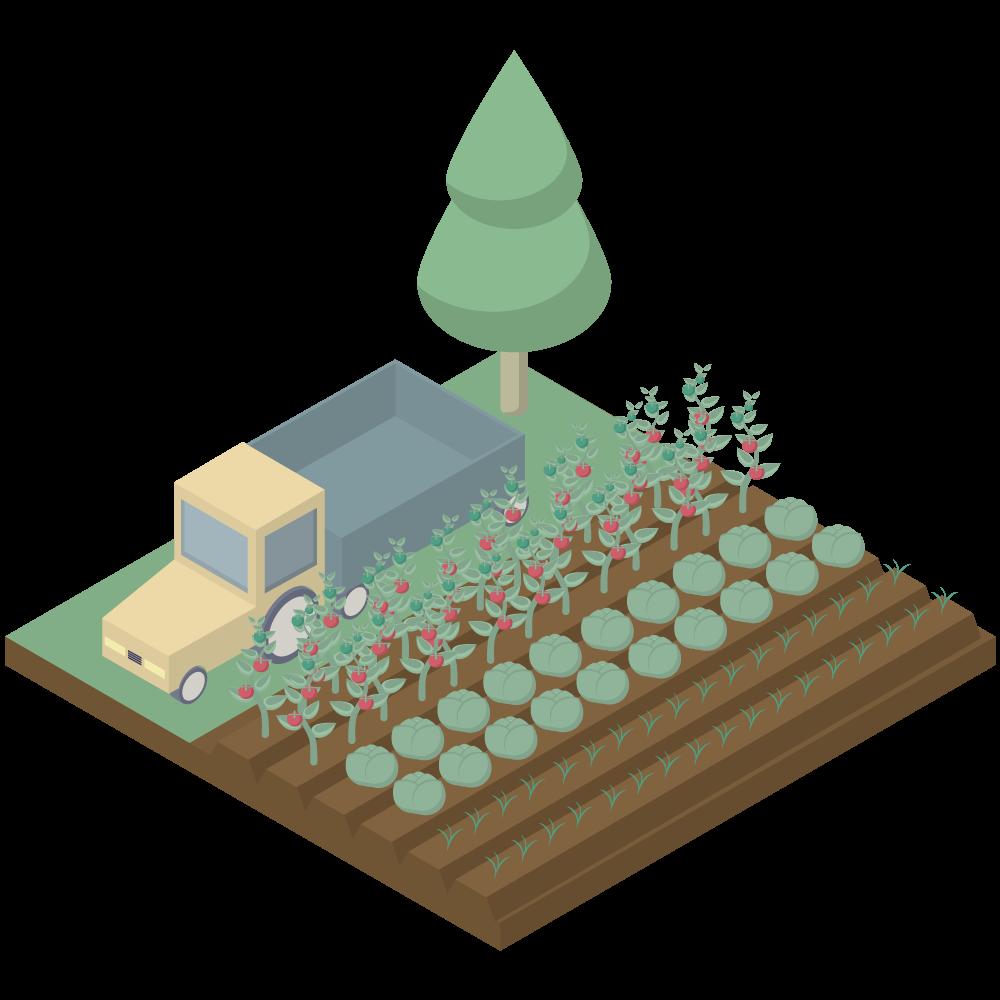 シンプルでかわいいアイソメトリックのトラックと野菜の農園farmの素材
