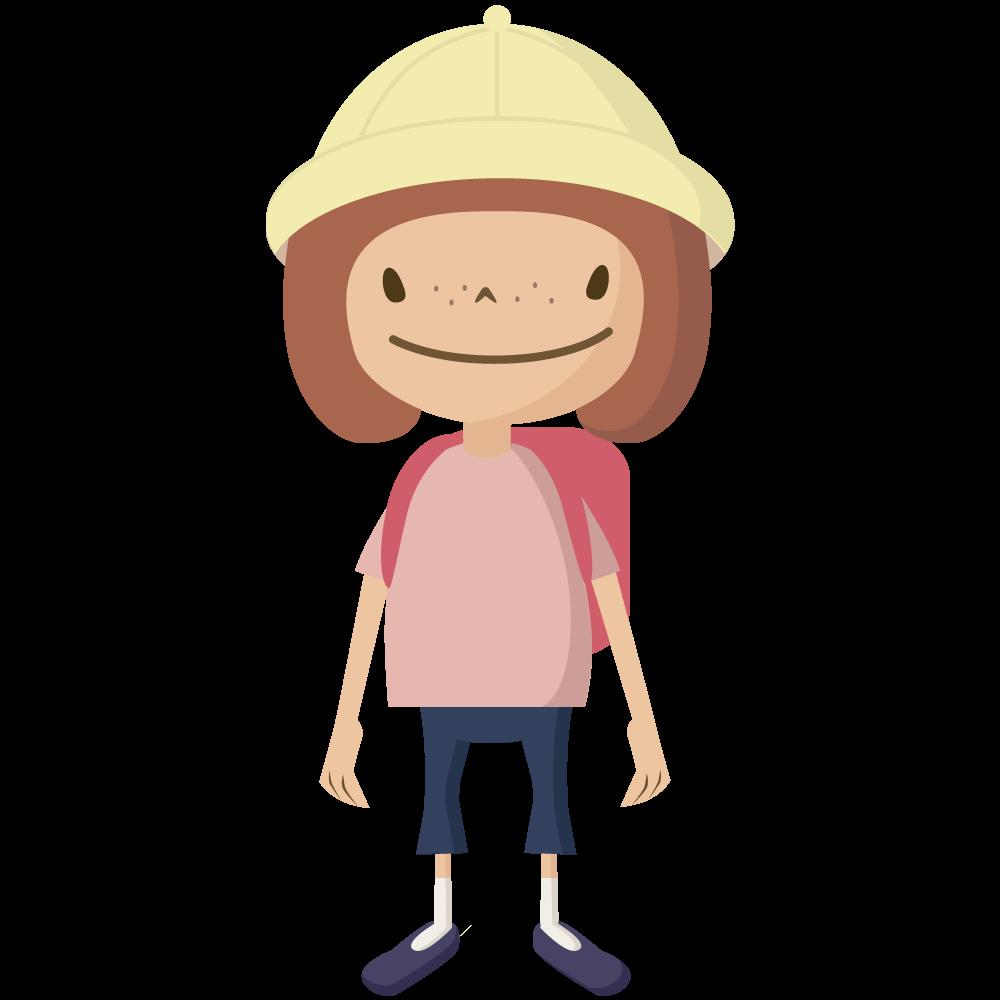 シンプルでかわいい黄色い帽子とランドセルの小学生の女の子イラスト