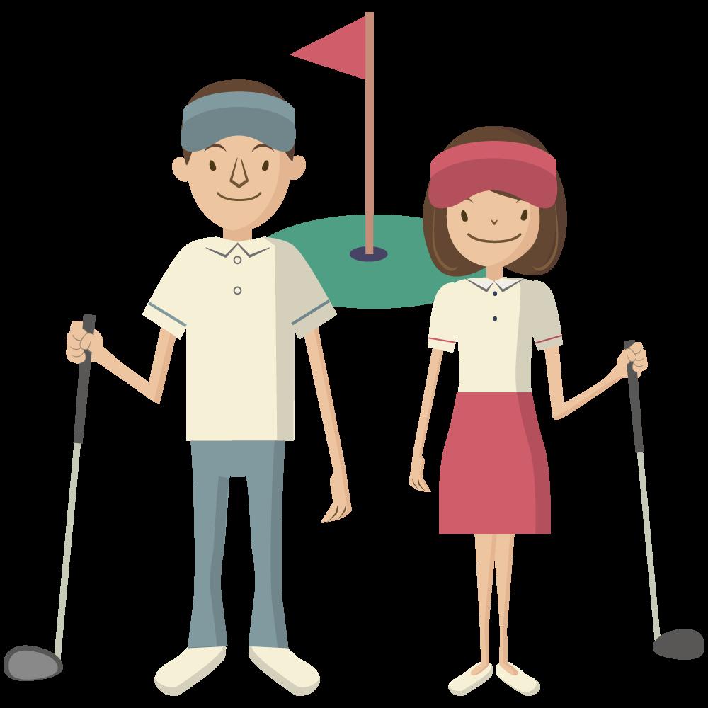 シンプルでかわいいドライバーを持ったサンバイザーをかぶった男子と女子ゴルファーの素材