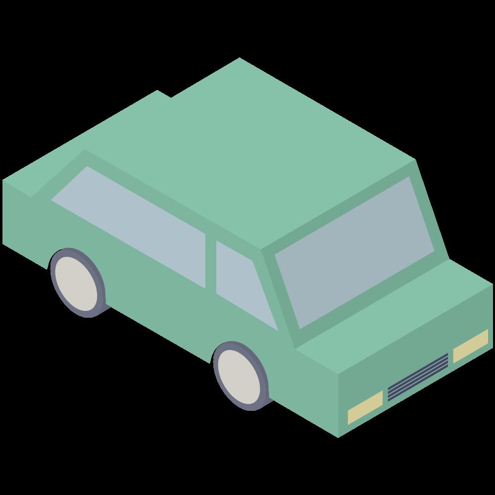 シンプルでアイソメトリックな3Dの緑の車の素材
