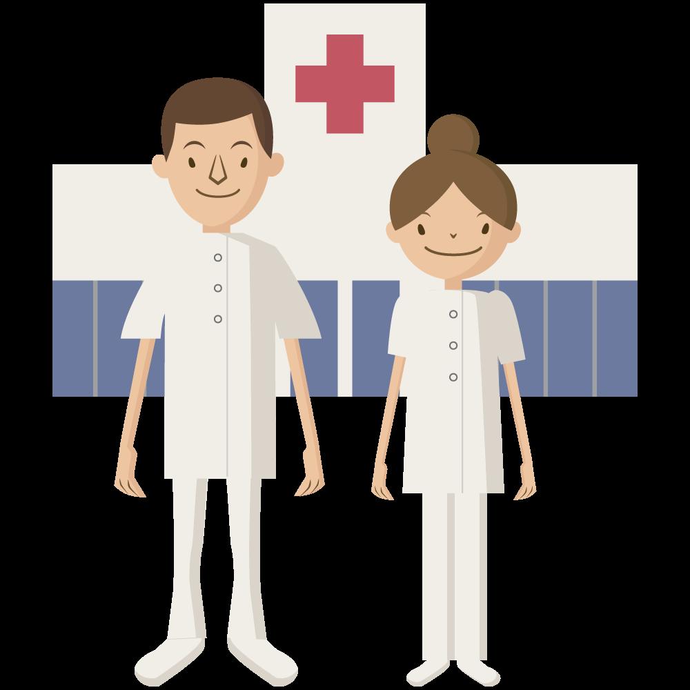シンプルでかわいい病院の前に立つ医療従事者の男性と女性の看護師のアイコン