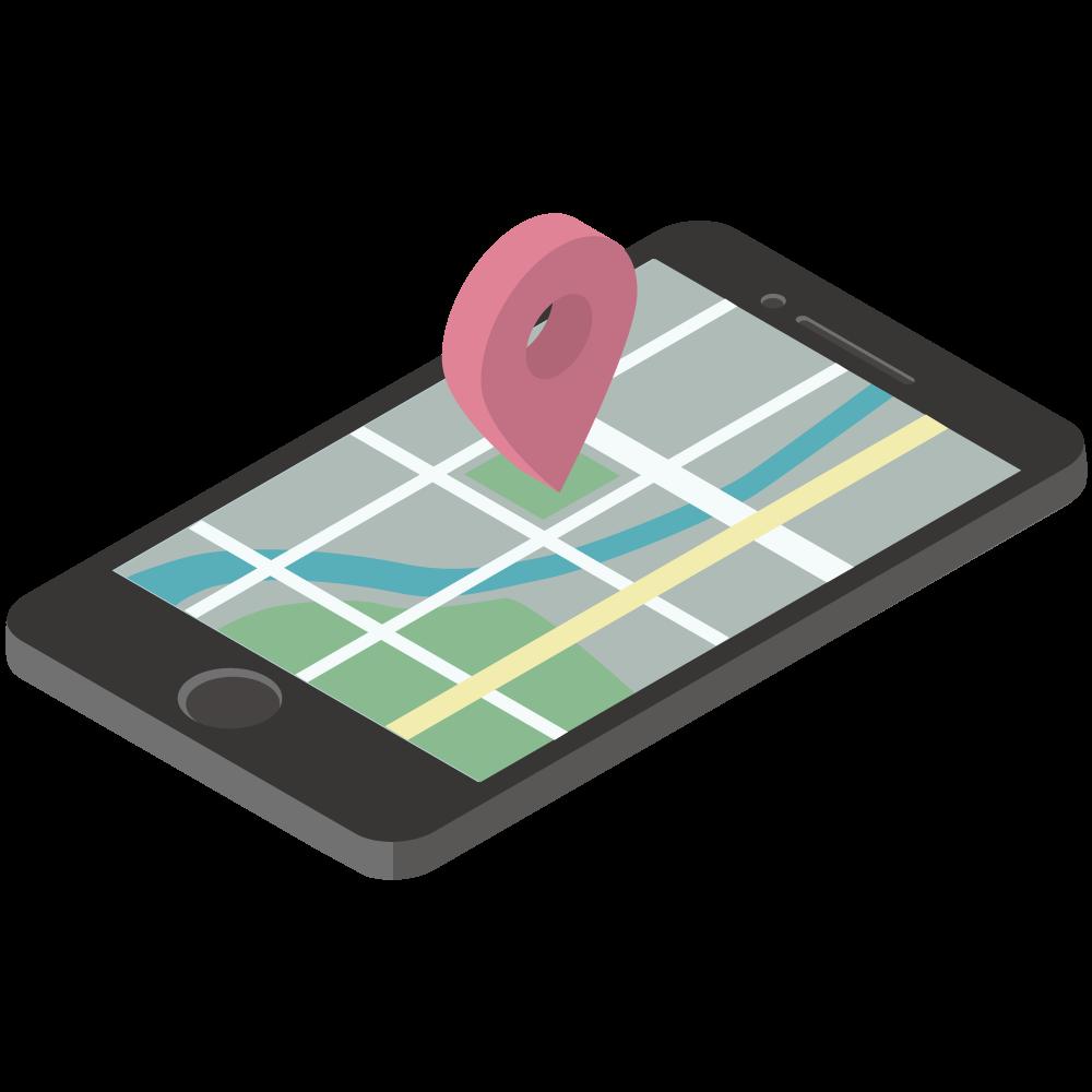 シンプルでかわいい3Dアイソメトリックのiphoneのgooglemapのイラスト現在地付き