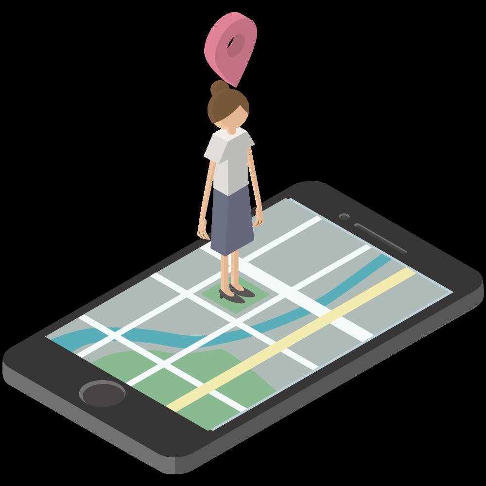 シンプルでかわいい3Dアイソメトリックのiphoneのgooglemapのイラスト女の人の現在地付き