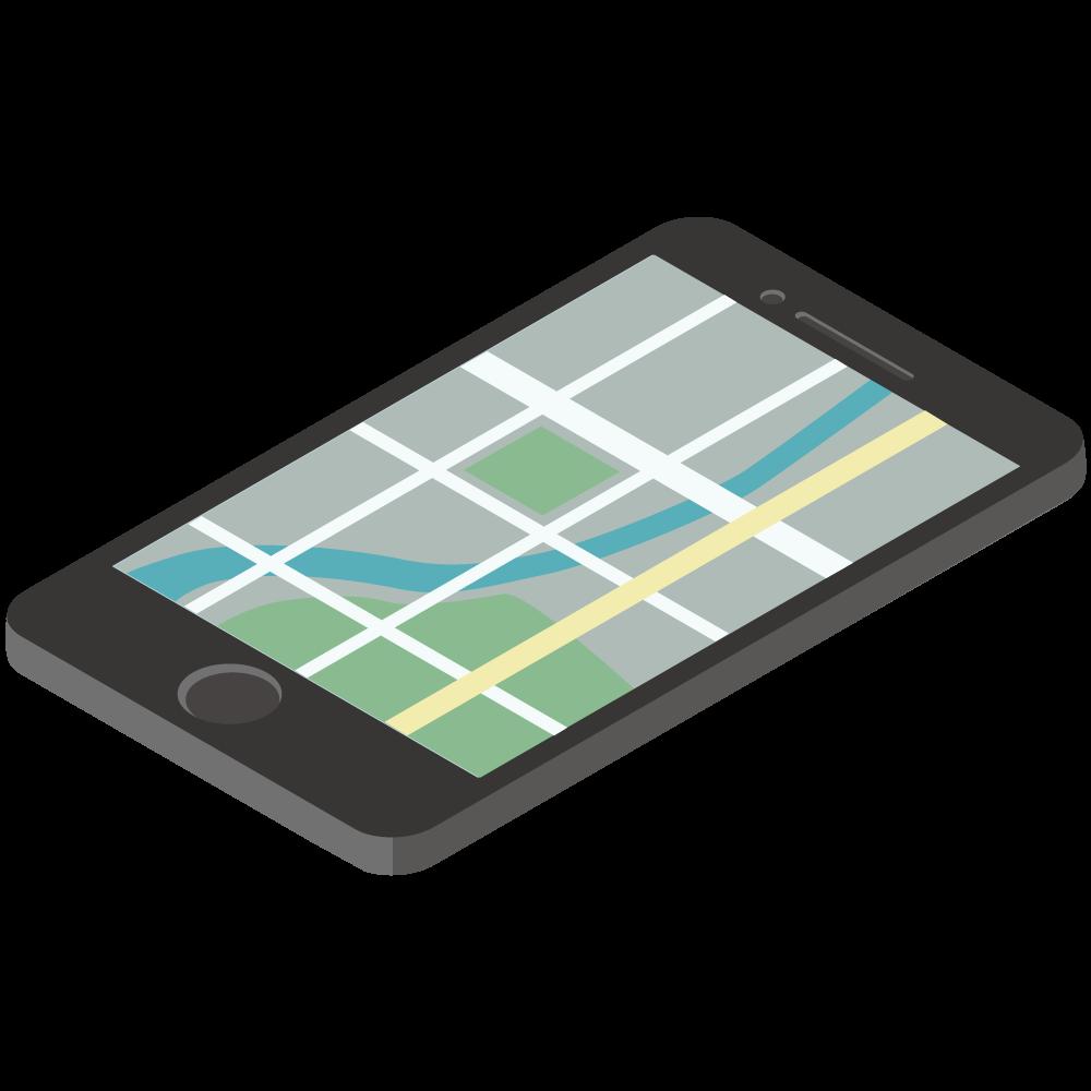 シンプルでかわいい3Dアイソメトリックのiphoneのgooglemapのイラスト