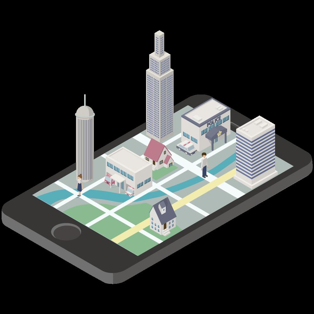 シンプルでかわいい3Dアイソメトリックのiphoneの画面から飛び出すGooglemapのイラスト素材