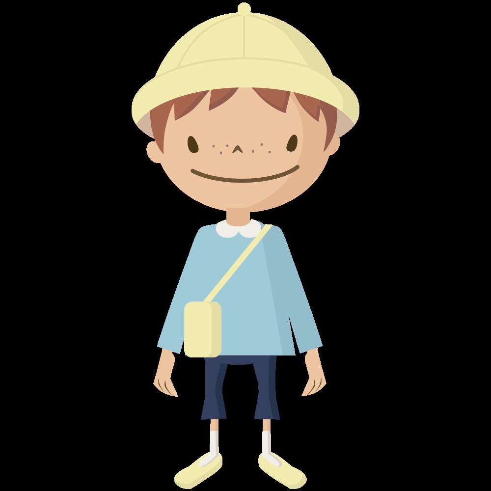 シンプルでかわいい黄色い帽子とカバンの保育園児の男の子イラスト