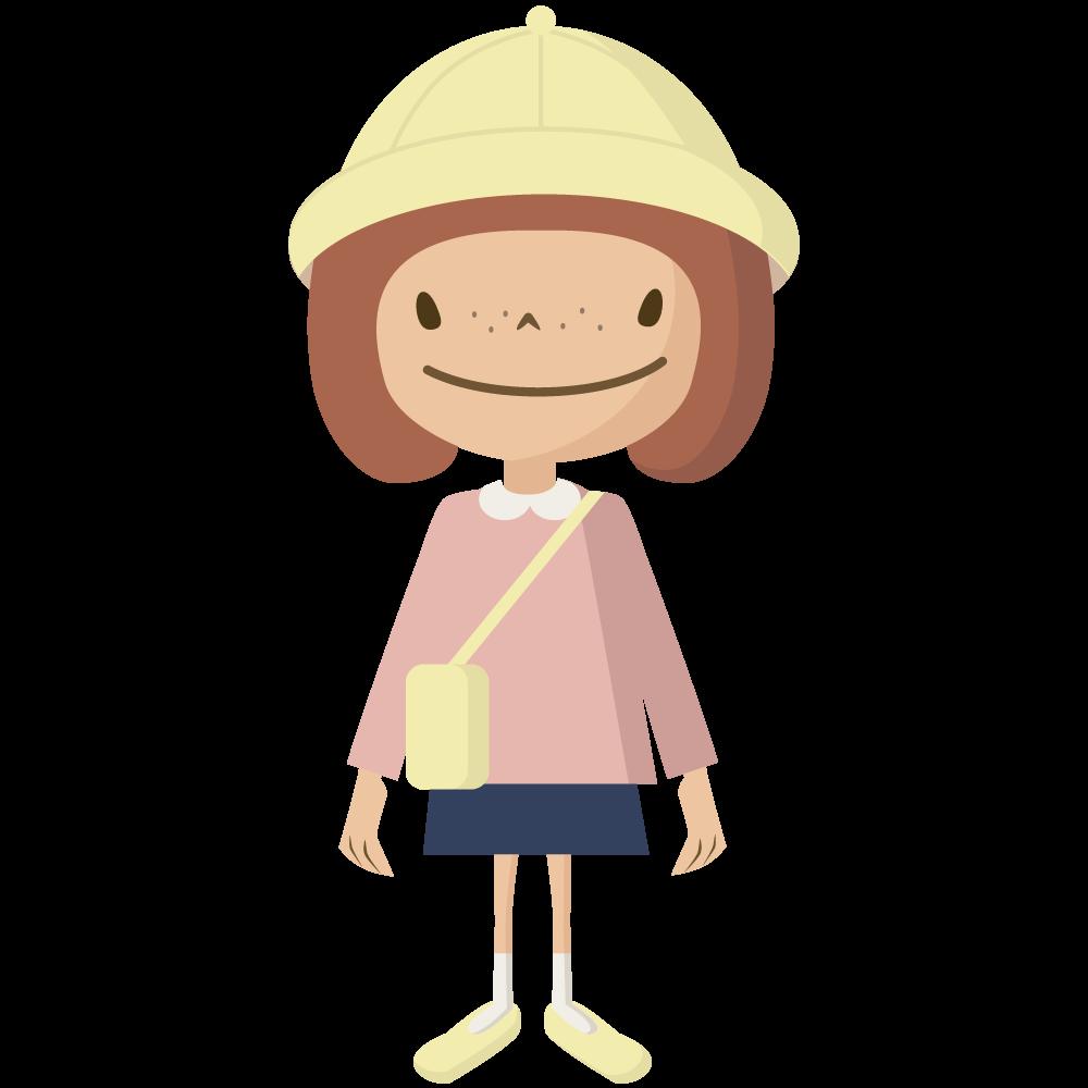 シンプルでかわいい黄色い帽子とカバンの保育園児の女の子イラスト