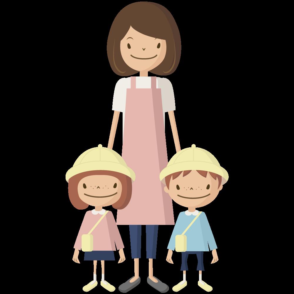 シンプルでかわいい黄色い帽子とカバンの保育園児の男の子と女の子と幼稚園の先生のイラスト