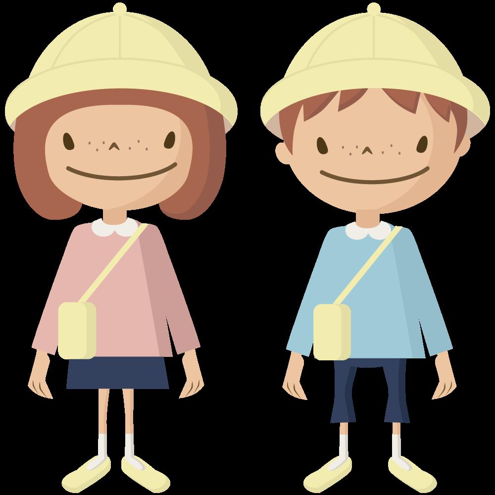 シンプルでかわいい黄色い帽子とカバンの保育園児の男の子と女の子イラスト