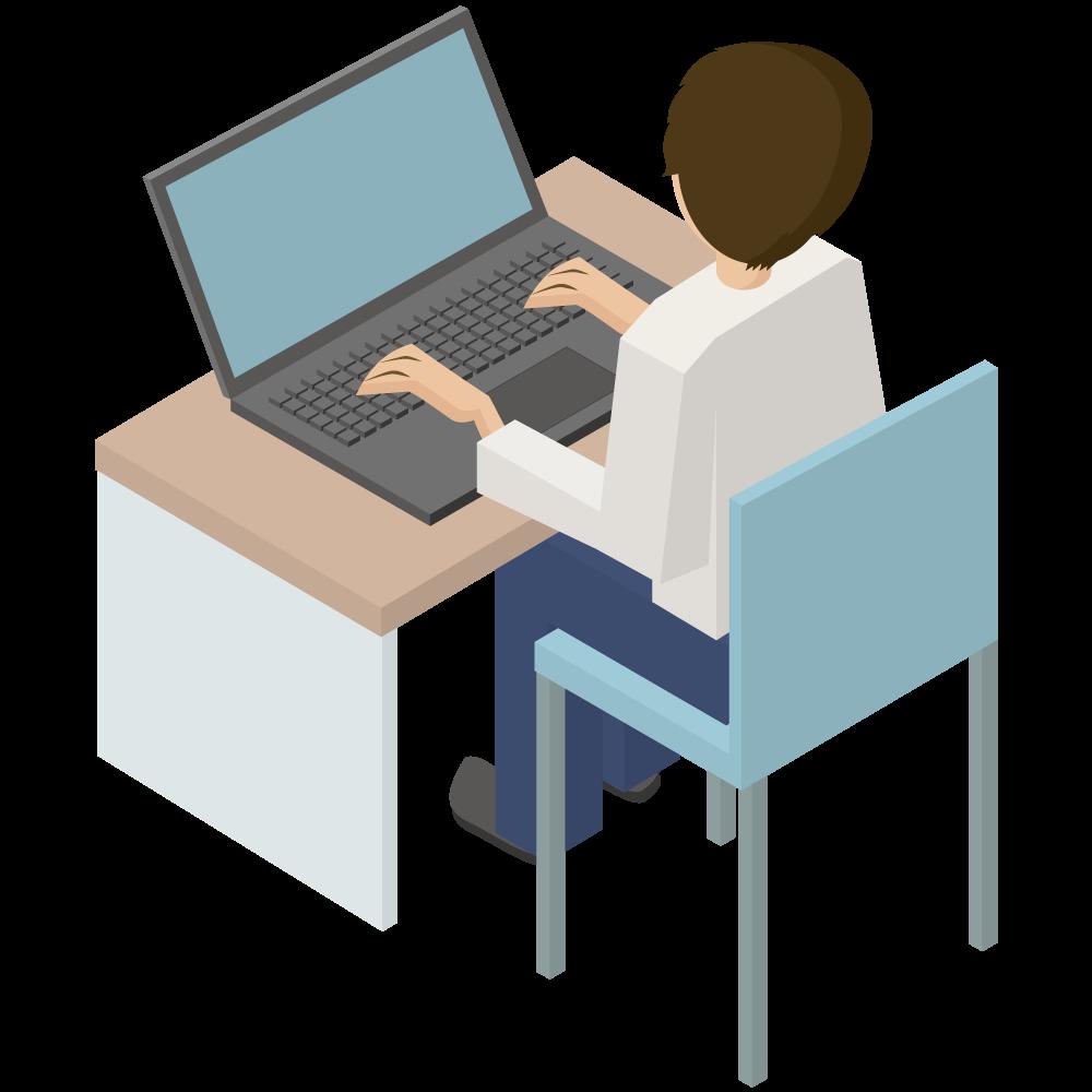 シンプルでかわいい3Dアイソメトリックのパソコンをしている男性のアイコン(左向き)