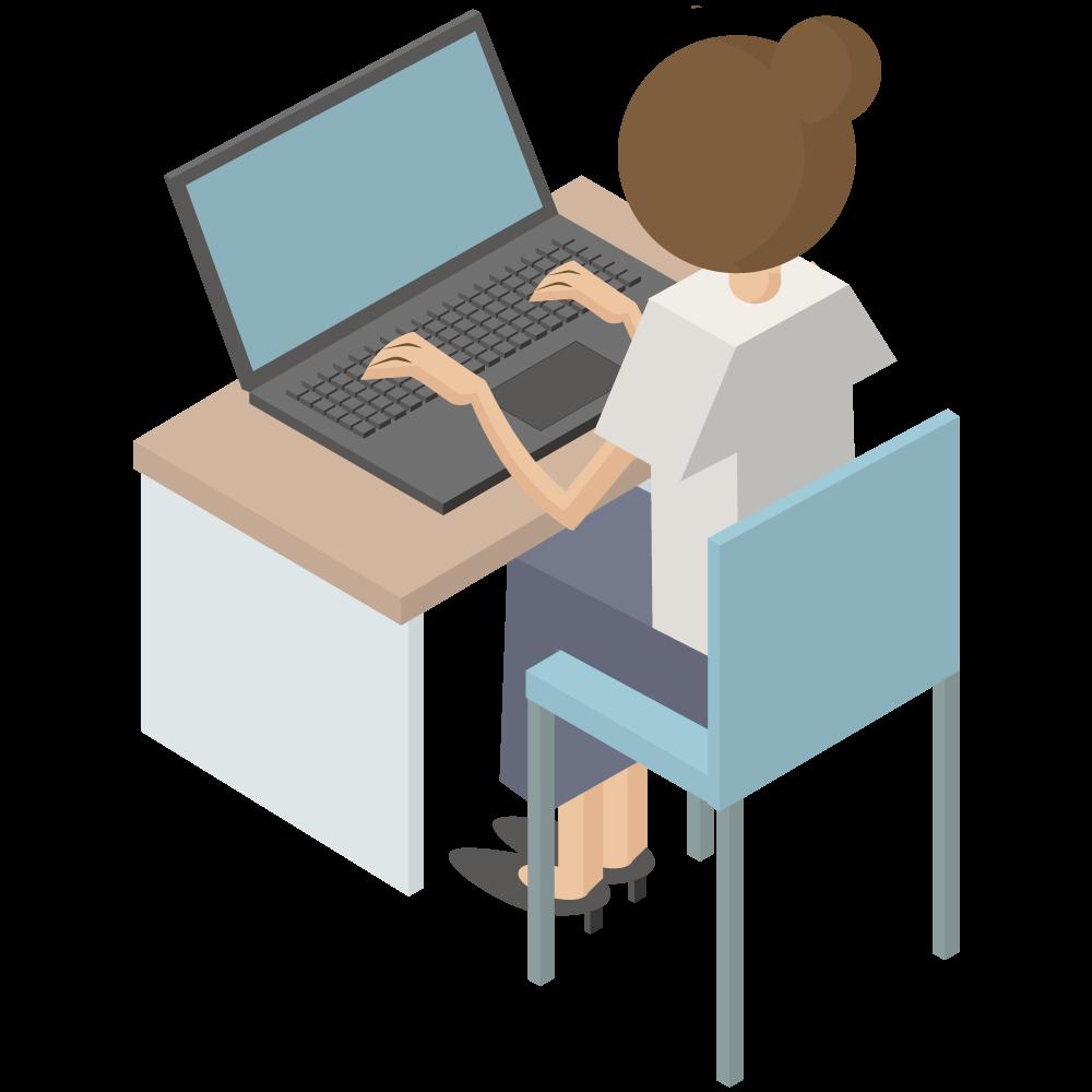 シンプルでかわいい3Dアイソメトリックのパソコンをしている後ろ向き女性のアイコン(左向き)