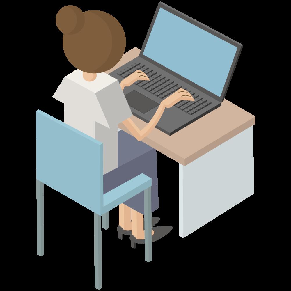 シンプルでかわいい3Dアイソメトリックのパソコンをしている後ろ向き女性のアイコン(右向き)