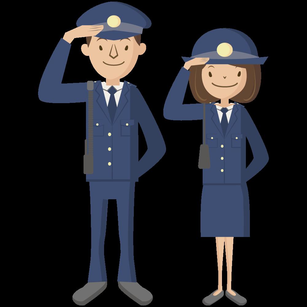 シンプルでかわいい男性と女性の警官のアイコン
