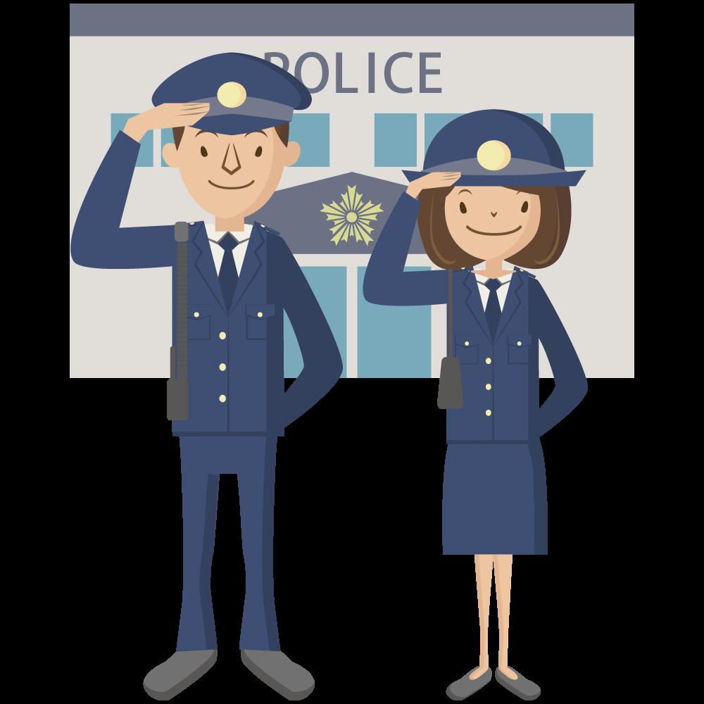 シンプルでかわいい警察署の前に立つ男性と女性の警官のアイコン