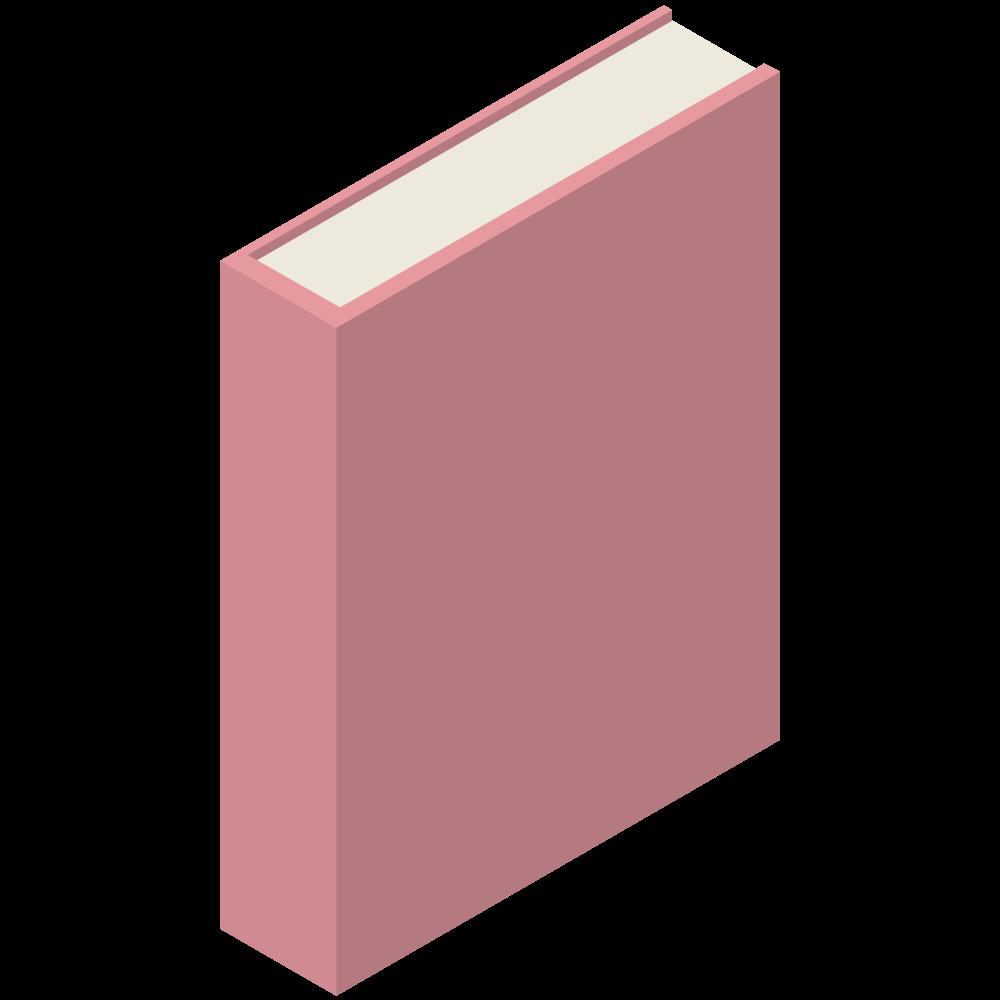 シンプルでかわいい3Dアイソメトリックの赤いブックのアイコン