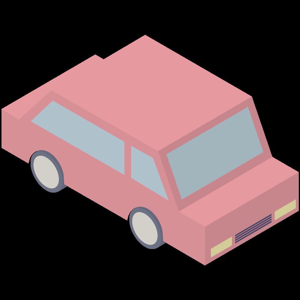 シンプルでアイソメトリックな3Dの赤い車の素材