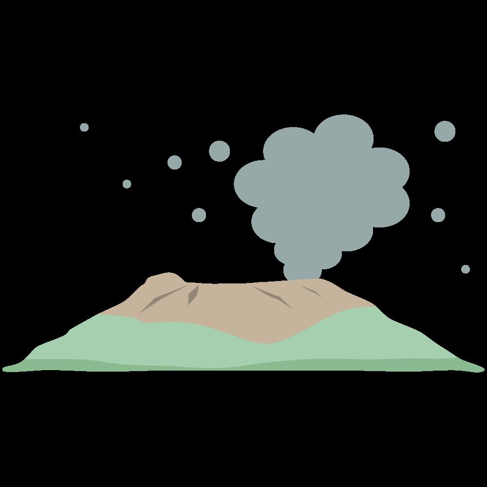 桜島が噴煙をあげて噴火して火山灰が降る素材