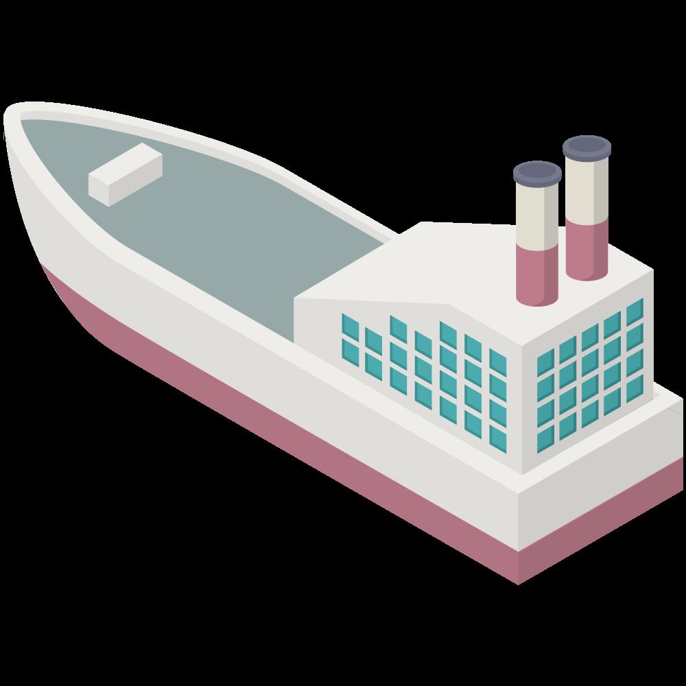 シンプルでかわいいアイソメトリックな赤いラインの船SHIPの3D素材