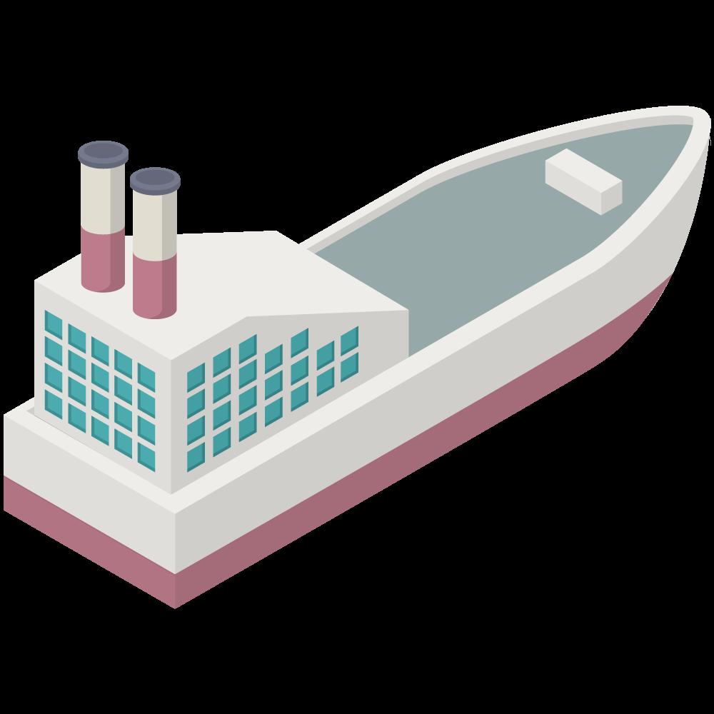 シンプルでかわいいアイソメの赤い煙突船SHIPの3D素材