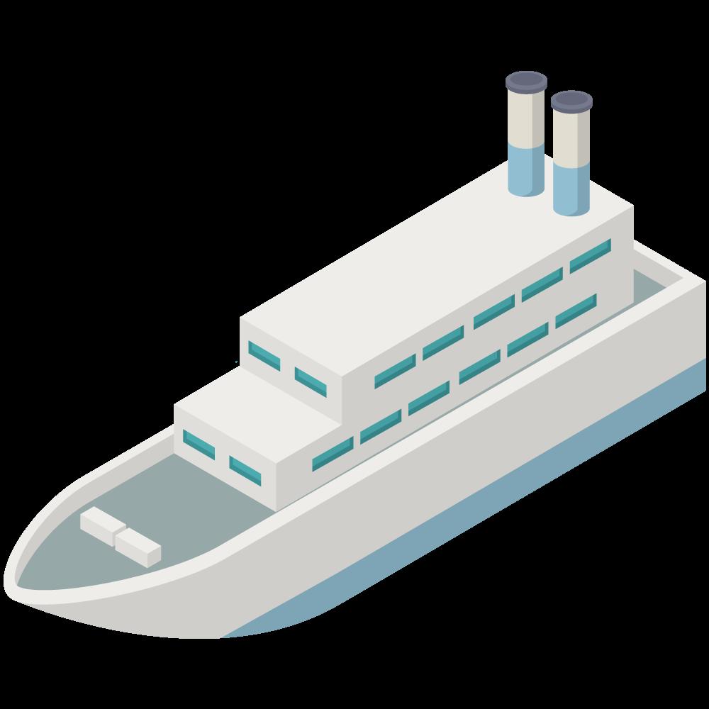 シンプルでかわいいアイソメトリックな青いラインの船SHIPの3D素材