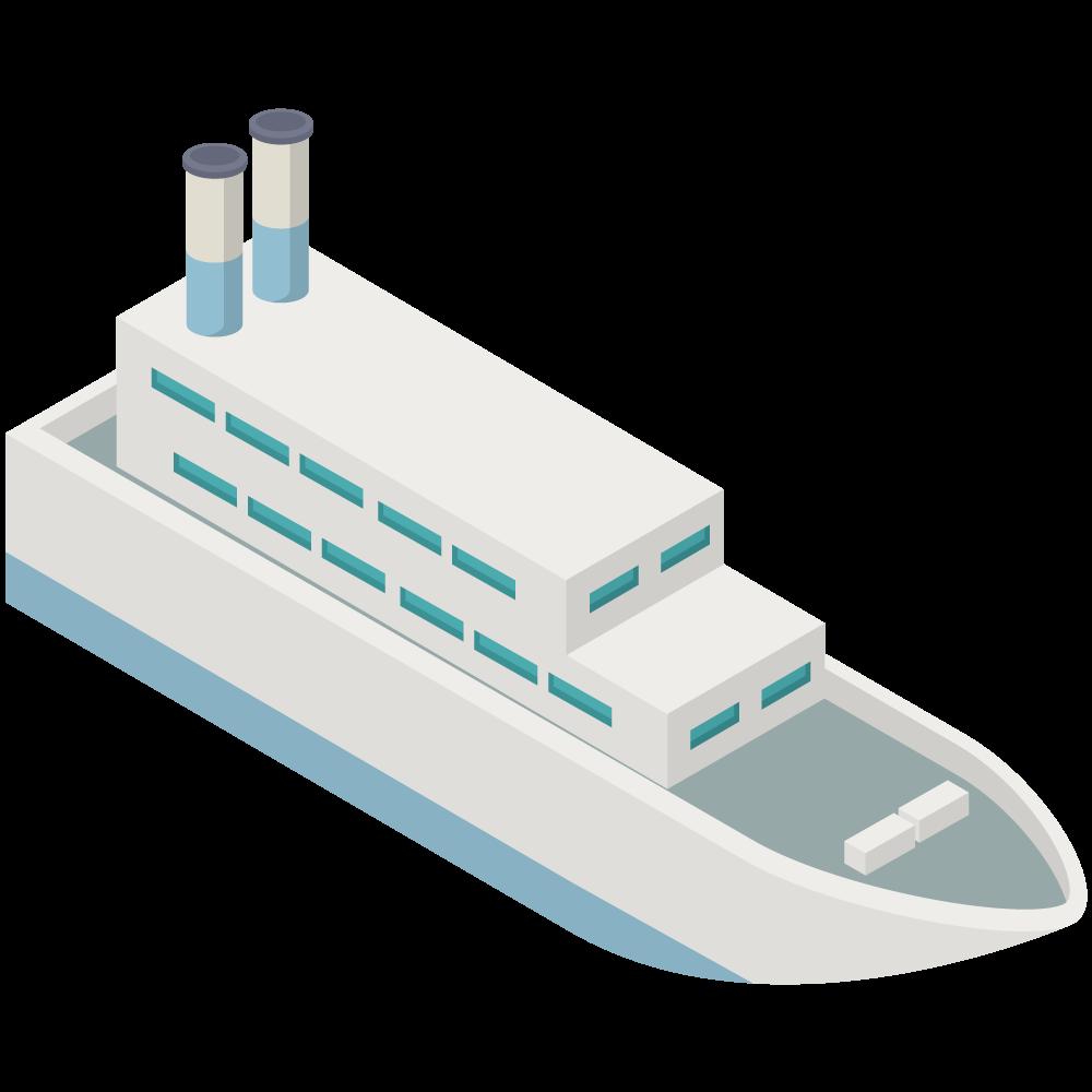 シンプルでかわいいアイソメの青い煙突船SHIPの3D素材