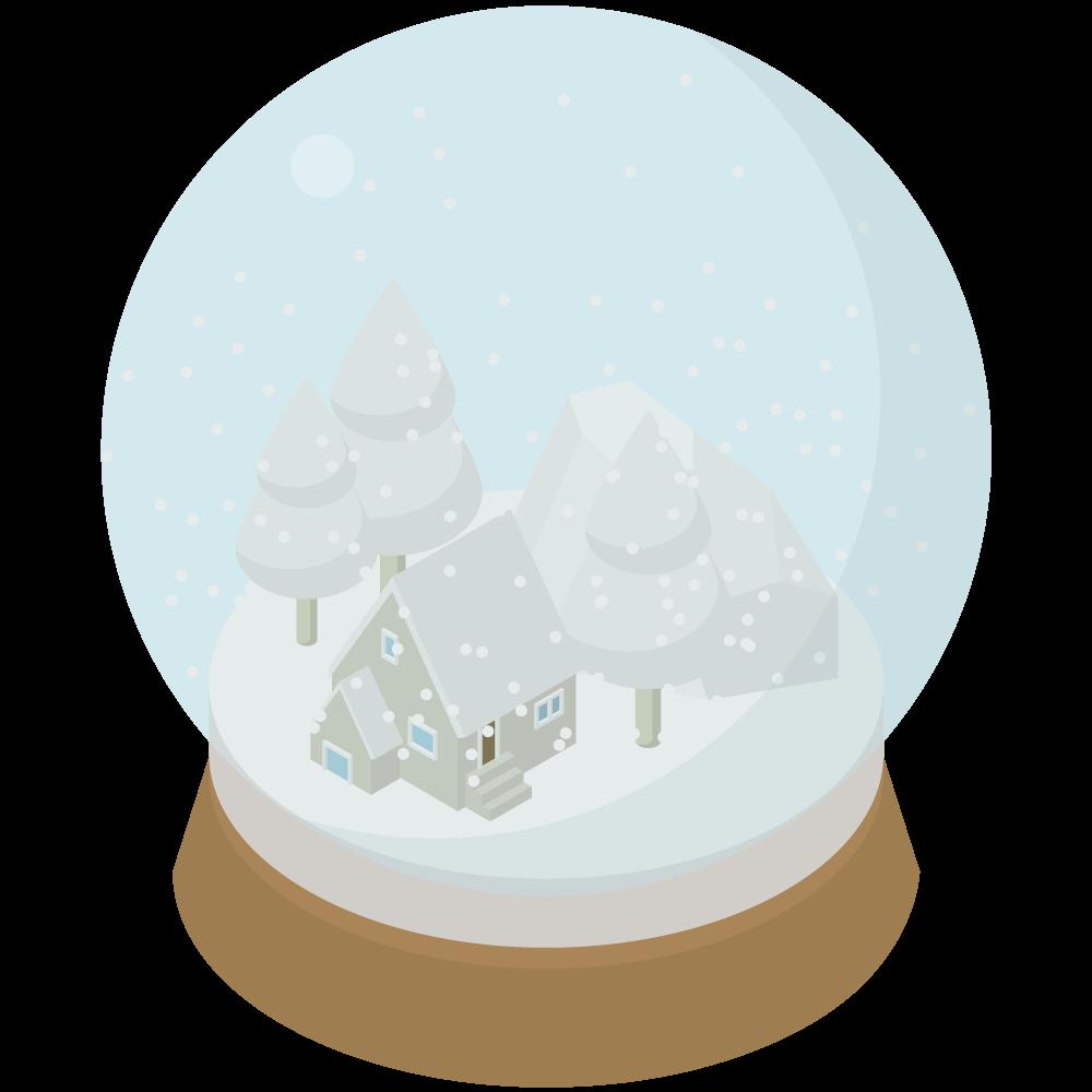 シンプルでかわいいアイソメトリックの雪深い森の中の家のスノードームの素材