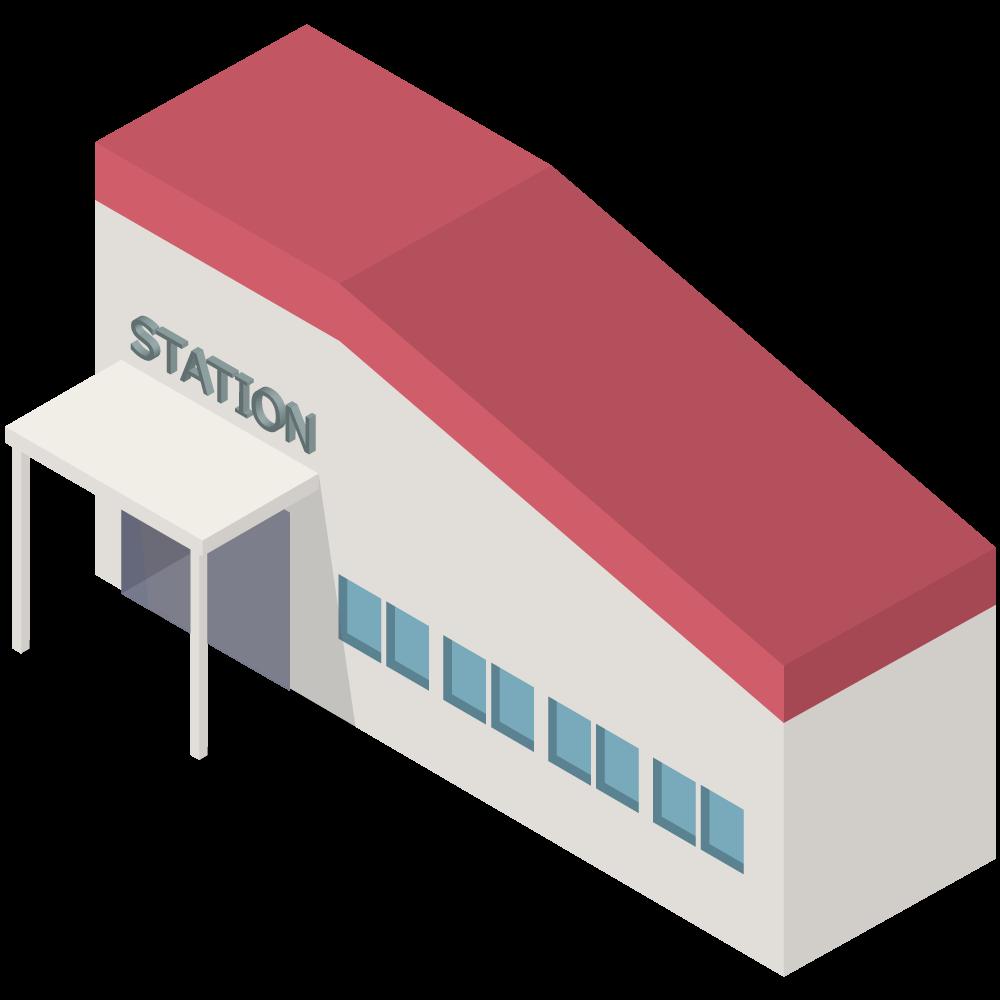 シンプルでかわいいアイソメトリックの在来線中規模の駅の素材