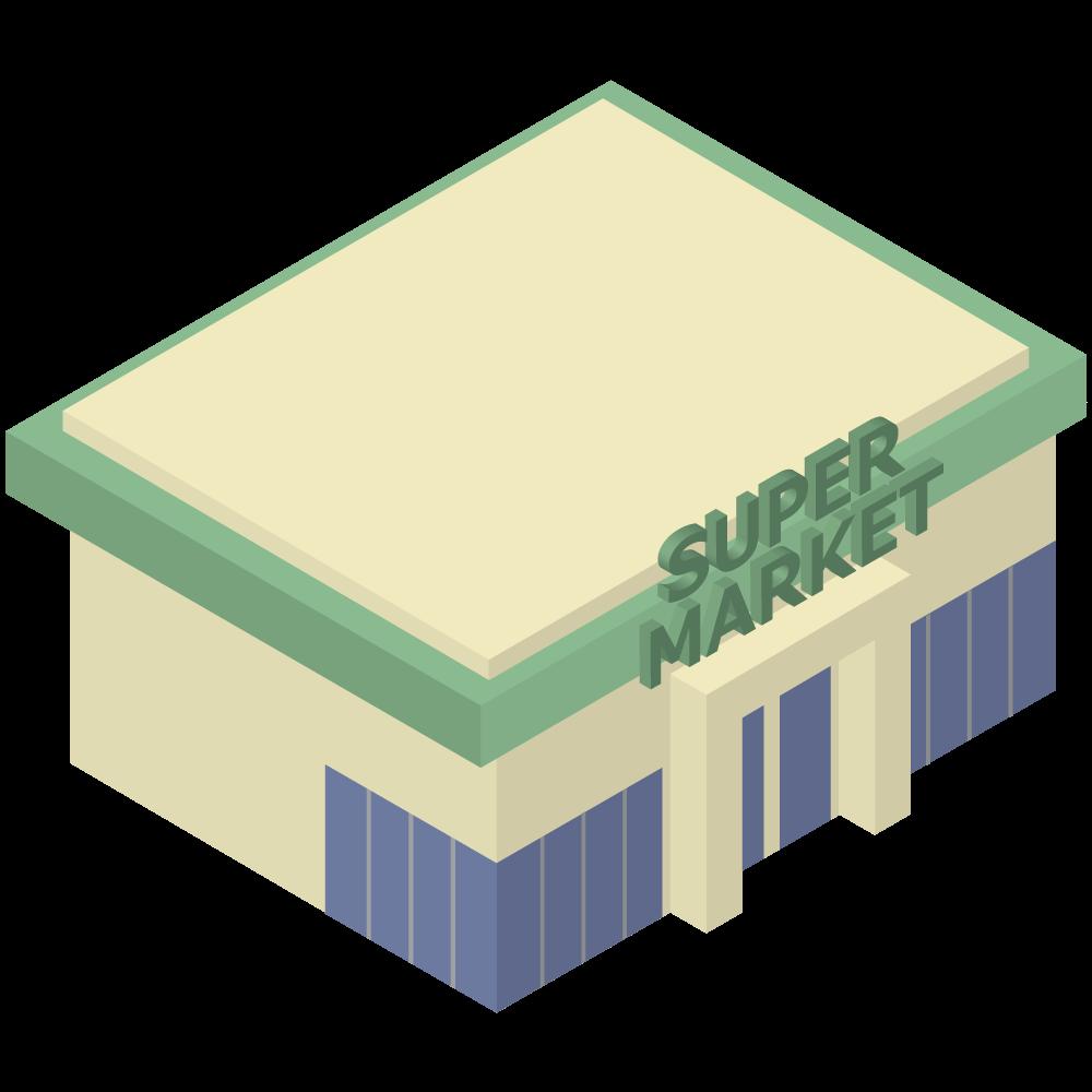 シンプルでかわいいアイソメトリックのスーパーマーケットの素材