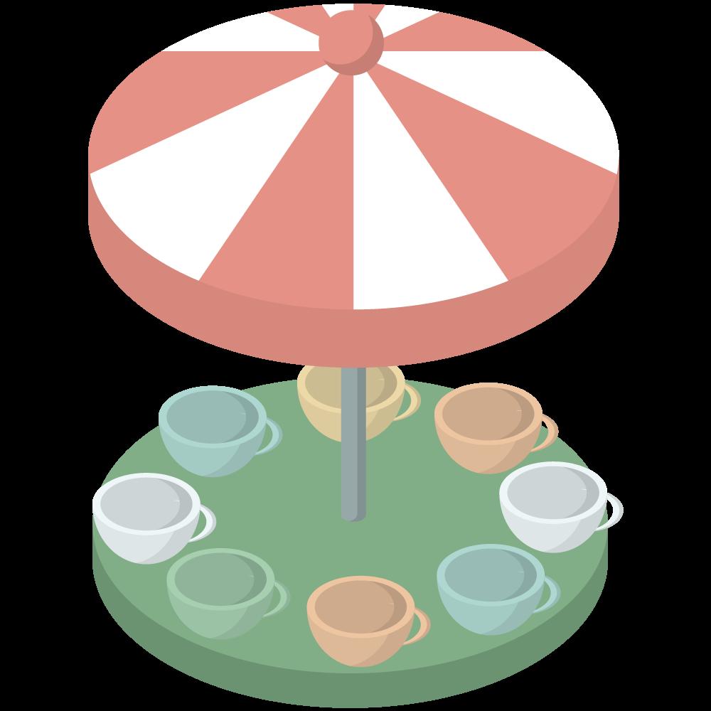 シンプルでかわいいアイソメ3Dの遊園地のコーヒーカップのアトラクションの素材