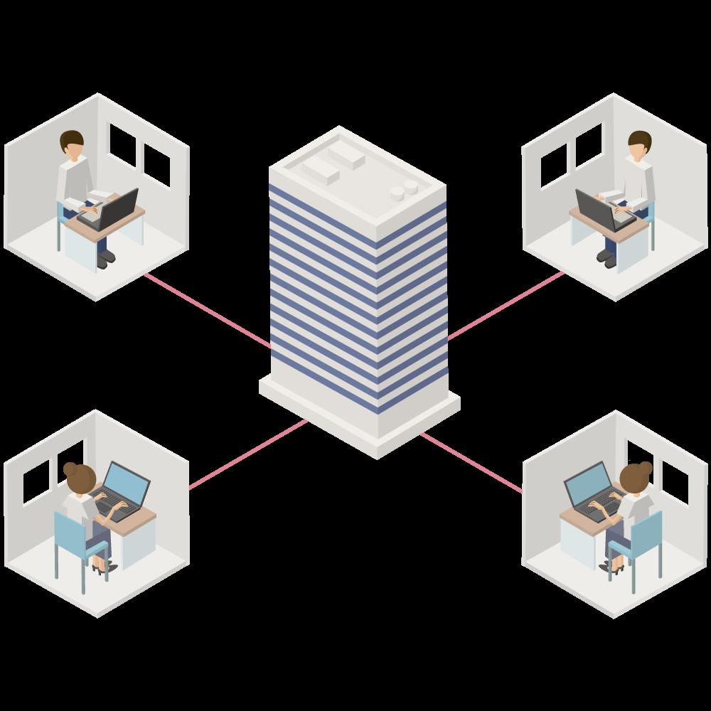 シンプルな3Dの家と会社を結ぶテレワークのアイコン