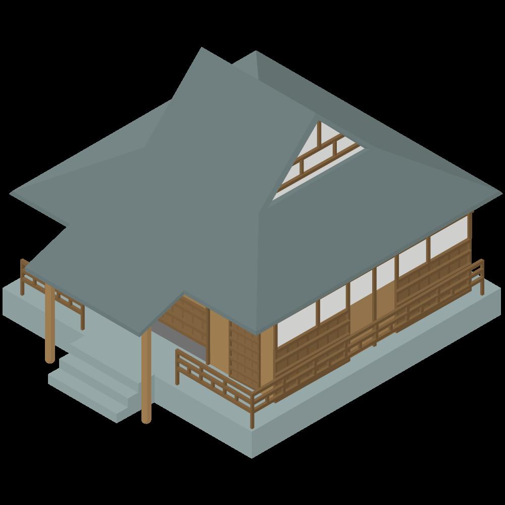 シンプルでかわいいアイソメトリックの日本の寺院のイラスト素材