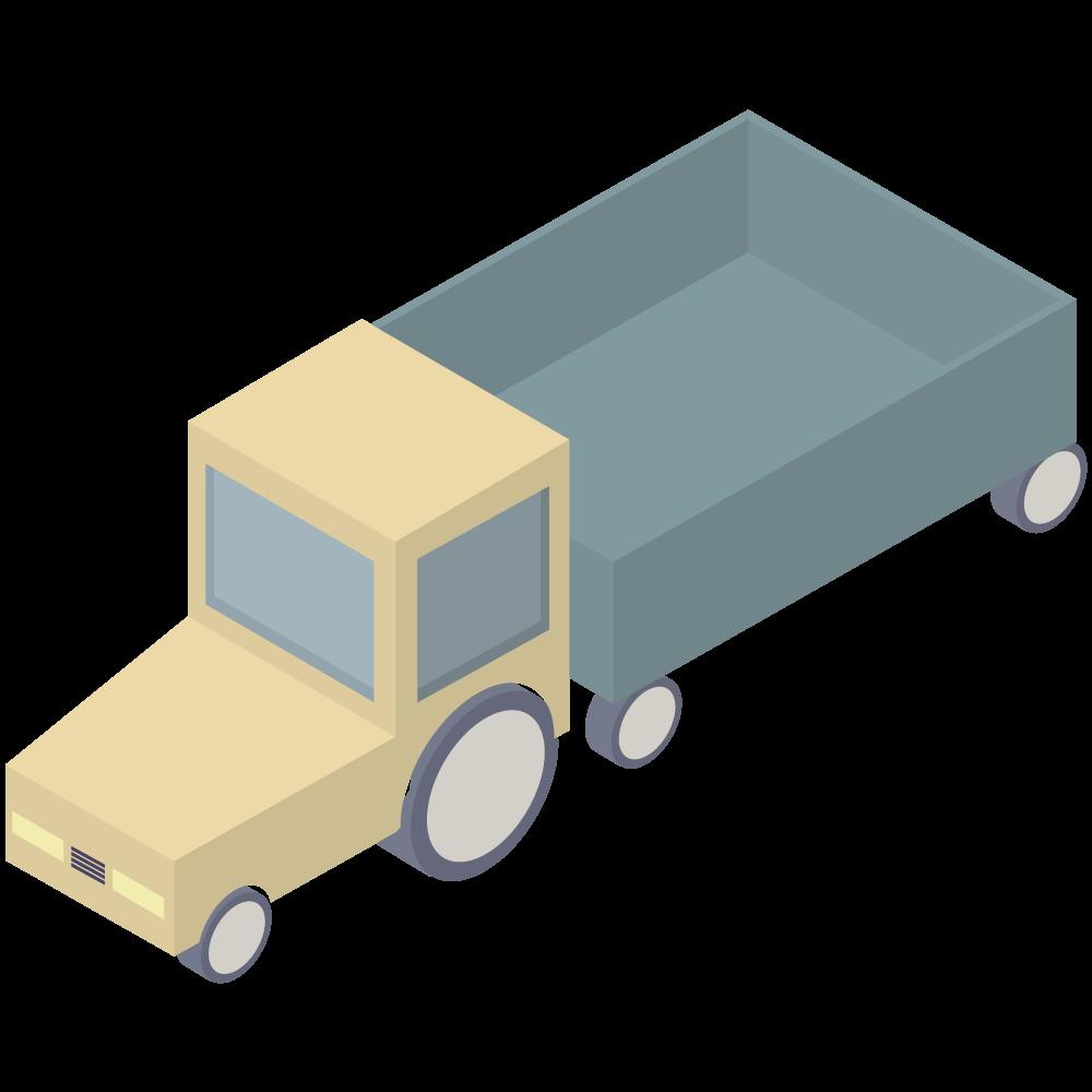 シンプルでかわいい荷台のある小さい黄色のトラックの素材