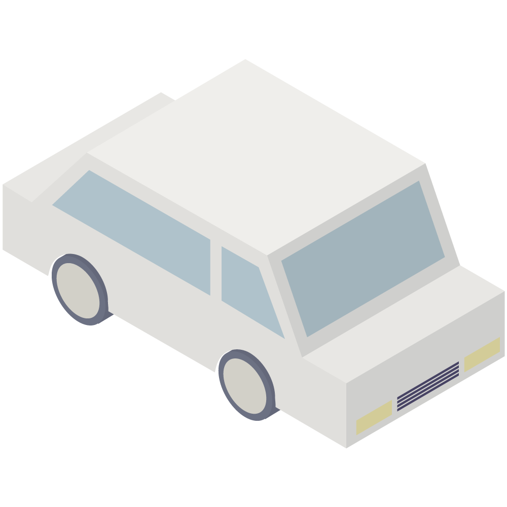 シンプルでアイソメトリックな3Dの白い車の素材
