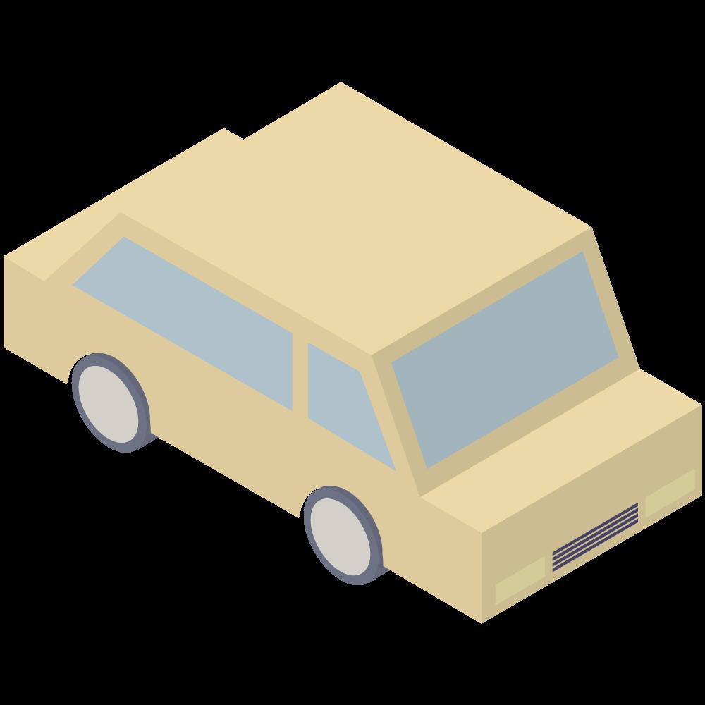 シンプルでアイソメトリックな3Dの黄色い車の素材
