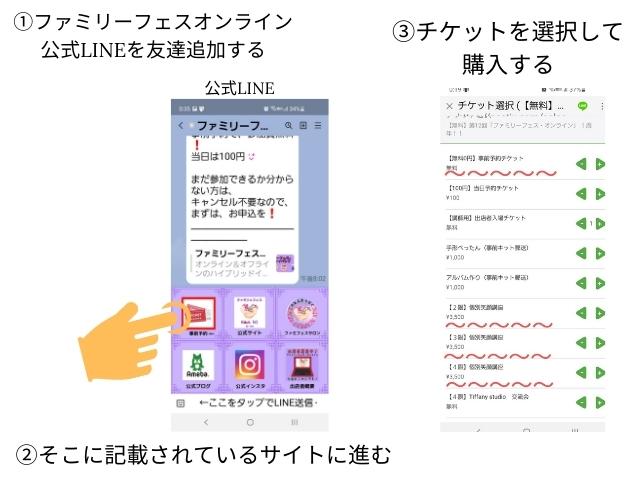 ①ファミリフェスオンライン公式LINEを友達追加する