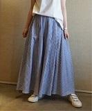 ストライプ タックギャザースカート